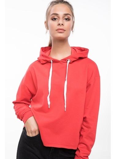 DeFacto Kapşonlu Sweatshirt Kırmızı